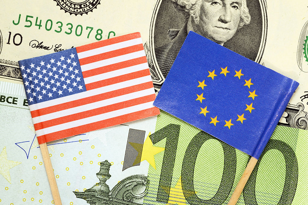Flags of The United States and EU on banknotes, free trade zone between The United States and EU