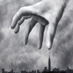 Menacing hand looming over city